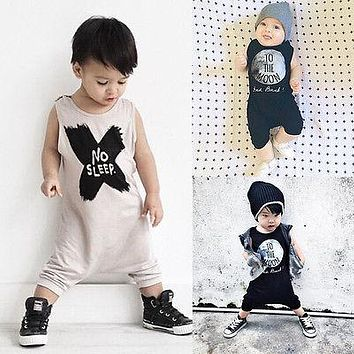 2016 New Baby Girls Boys Romper Sleeveless No Sleep Print Cotton Baby Jumpsuits Baby Clothes for 0-24M