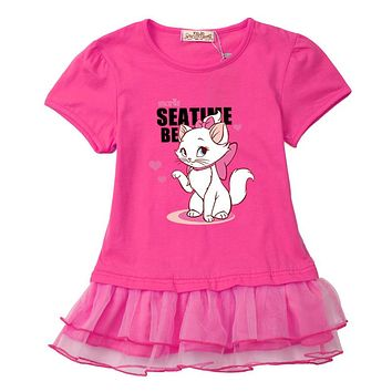 Beautiful and soft baby girl clothes dresses 2017 new cotton original design Birthday party dress lovely cat cotton t shirt cute