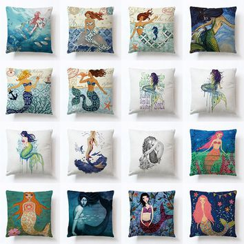 Ocean Mermaid sea-maid princess Style Printed Linen pillow cover sea daughter home Fashion decorative Comfortable Pillowcase