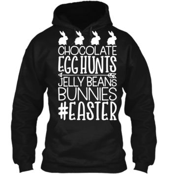 Easter Chocolate Egg Hunts Jelly Beans Bunnies T shirt Boys Pullover Hoodie 8 oz