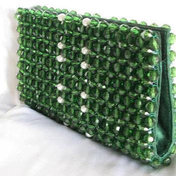 Dark green  and white pearl clutch evening purse bridal bag