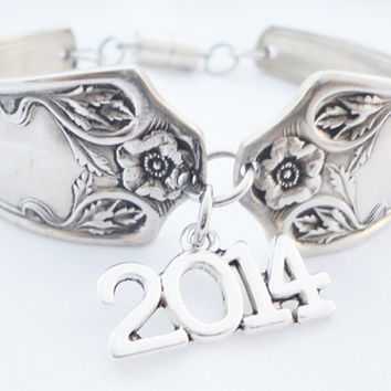 Bracelet graduation, silverware spoon jewelry, 2014 anniversary