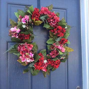 Hydrangea Wreath, Spring Hydrangea Wreath, Red Floral Wreath, Spring Door Wreaths, Red and Pink Wreath