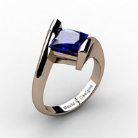 Modern 14K Rose Gold 2.0 Ct Princess Square Blue Sapphire Kite Setting Engagement Ring R1031-14KRGBS