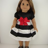 A Cute Dress in Black and White Stripes and Red Belt Designed for 18 Inch Doll Like the American Girl Dolls , Shoes Sold Separately