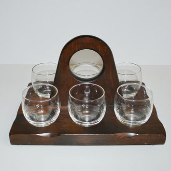 Vintage Mid Century Clear Roly Poly Glasses Set of 6 Rock Glasses with Wooden Caddy Barware Set Danish Modern Barware Set