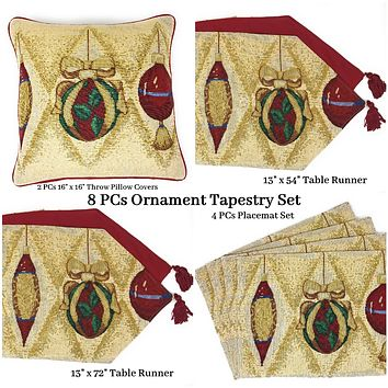 DaDa Bedding Set of 8 Pieces Elegant Christmas Ornaments Table Tapestry - 4 Placemats, 2 Table Runners, 2 Throw Pillow Covers (6139)