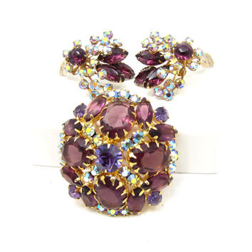 Verified Vintage Juliana D&E High Dome Purple AB Rhinestone Brooch Earring Set Demi Parure Aurora Borealis High End Vintage Jewelry Gifts