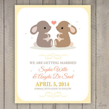 Personalized Save the Date for a wedding - rabbits