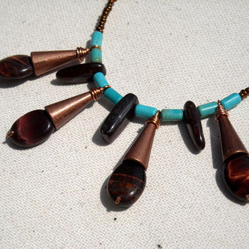 Red tiger eye and Turquoise necklace,Natural Tiger Eye Necklace,Natural Turquoise Necklace,Copper beaded necklace,