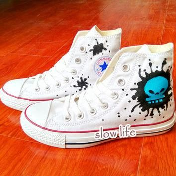 Blue skulls-painted shoes/Converse canvas shoes/Custom canvas shoes/graffiti shoes/ gi