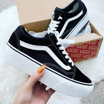 One-nice™ Fashion Online Vans Old Skool Platform Black Sneaker Thick Shoe Sole I