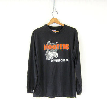 Vintage Black HOOTERS long sleeve TShirt. Grunge Shirt. Davenport, Iowa Shirt. size large
