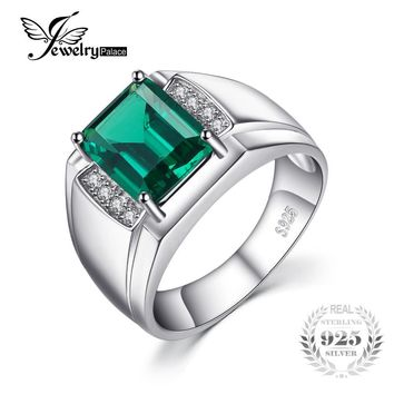Jewelrypalace Men Luxury 2.7ct Created Emerald Anniversary Wedding Ring Genuine 925 Sterling Sliver