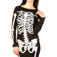 Tyler Skeleton Bodycon Dress in Black