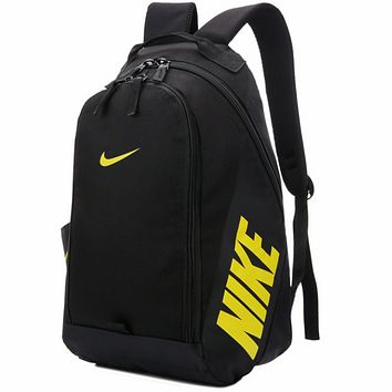NIKE 2018 new men and women travel sports backpack computer bag F0522-1 black+yellow logo