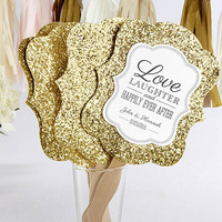 Personalized Gold Glitter Wedding Fan (Set of 12)
