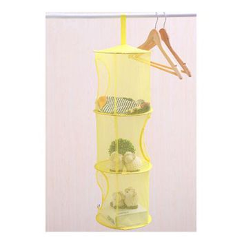 3 Compartments New Hanging Polyester Mesh Storage Basket  Toys Organizer