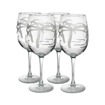 Rolf Glass Palm Tree All Purpose 18 oz. Wine Glasses (Set of 4)