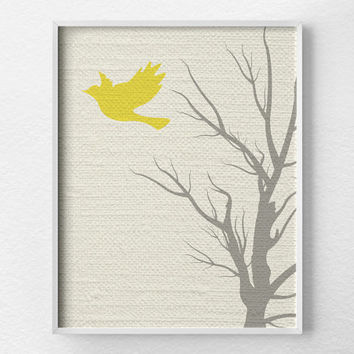 Modern Bird Art, Tree Wall Art, Modern Home Decor, Nursery Decor, Modern Art Print, Nature Art Print, Minimalist Art, Yellow and Gray