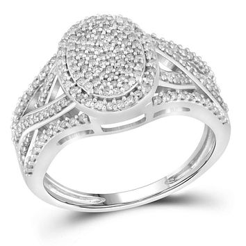 10kt White Gold Womens Round Diamond Oval Cluster Twist Ring 1-2 Cttw