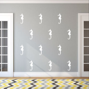 Seahorse Style B Set of 5 Inch Vinyl Wall Decals 22561