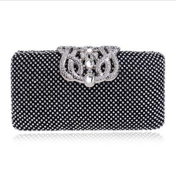 Crown Clutch Purse Bling Hard Box Rhinestone Crystal Clutch Bag Evening Bag Collection Glitter Handbag 33-16