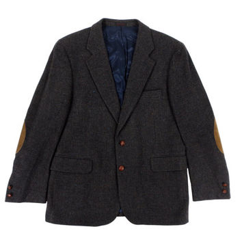Vintage Dark Blue Grey Tweed Jacket - Sport Coat Boston Traders Blazer Wool Herringbone - Men's size 42 Large L