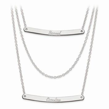 Sterling Silver Brushed Or Polished 3 Chain 2 Bar Name Necklace