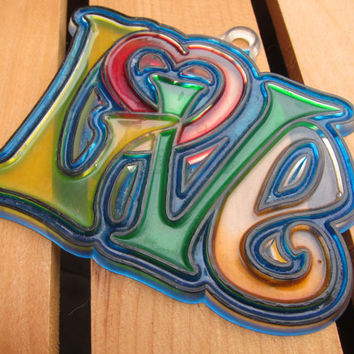 "70s Groovy Rainbow Hippie ""LOVE"" Small Plastic Stained Glass Window Hanging -- Psychedelic Free Love Flower Child Gift!"