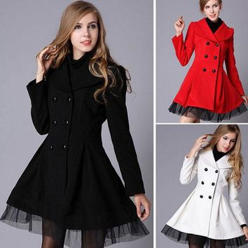 VLX2WL Jacket Double Breasted Women's Fashion Dress Winter Lace Windbreaker [9584857290]