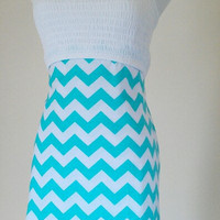 Tiffany Blue Chevron strapless summer dress timeless by JLeeJewels