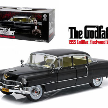 "1955 Cadillac Fleetwood Series 60 Special ""The Godfather"" Movie (1972) 1-18 Diecast Model Car by Greenlight"