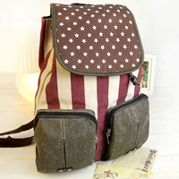 Vintage American Flag Distressed Canvas Backpack