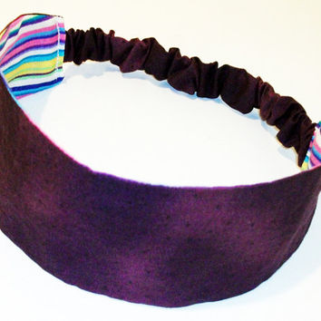 Reversible Fabric Headband Purple with Black Polka Dots & Multi Color Stripes Wide Head Band