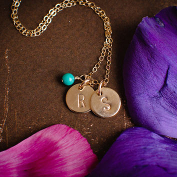 Tiny Gold Two Initial Necklace CHOOSE GEMSTONE - 14k Gold Filled Dainty Discs, Personalized Custom Monogram Necklace