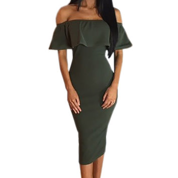 Ruffles Off Shoulder Split Slim Midi Party Dress