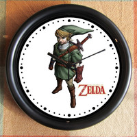 The LEGEND of ZELDA Link Character Video Game 10 inch Resin Wall Clock Contact Me for Custom Clocks Under 25.00 Geekery
