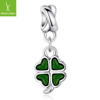 TOP Quality 925 Sterling Silver Four-Leaf Clover DANGLE Charm Beads Fit Origiral Pando