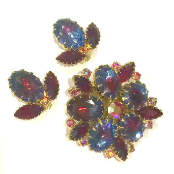 Juliana Style Rhinestone Demi, Brooch and Earrings Set, Blue and Burgundy Givre Ovals, Burgundy Marquise, Aurora Borealis Accents,