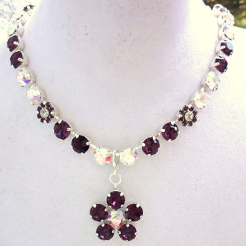 Swarovski crystal necklace and pendant set, amethyst and crystal AB, better than sabika