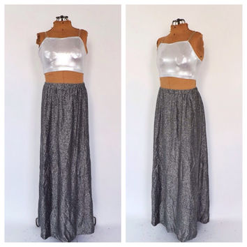 Vintage 1970s Glam Maxi Skirt Retro Pewter Silver Lame Sparkly Skirt Disco New Years Eve Long Formal Skirt Size Medium Hipster Disco Motown