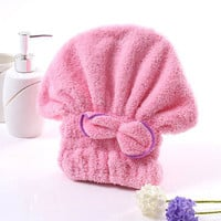 Home Textile Useful Dry Microfiber Turban Quickly Hair Hat Wrapped Towel Bathing