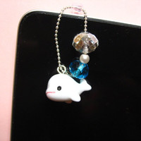little whale dust plug , kawaii earphone plug for iphone , ipad or any device with 3.5 mm earphone interface , phone charm