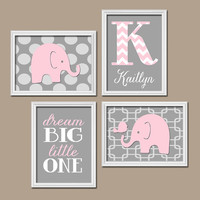 Elephant Pink Gray Wall Art Nursery Canvas Artwork Girl Child Custom Monogram Name Chevron Letter Bird Polka Dot Dream Big Set of 4 Prints