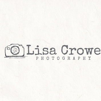Premade photography logo design and photography watermark. Sketched Camera logo and typewriter font.