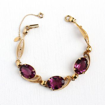 Simulated Amethyst Bracelet - Vintage 14k Rosy Yellow Gold Filled Filigree Panels - Oval Purple Glass Stone Leaf Statement Geri Jewelry