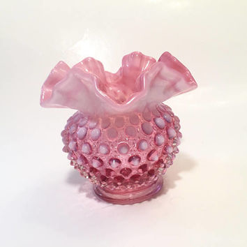Fenton Cranberry Opalescent Crimped Vase, Pink Hobnail Glass Vase Ruffled Glass Ivy Vase