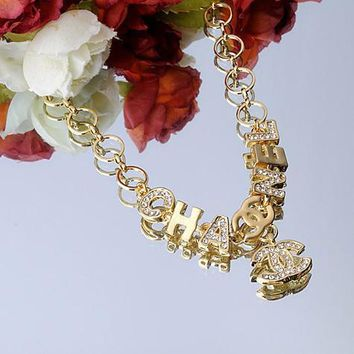 Chanel Woman Fashion Logo Diamonds Necklace