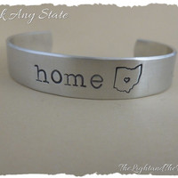 Personalized Hand Stamped Cuff - Choose your State - Home - USA - Silver Jewelry - Unisex - Gift for him Gift for her